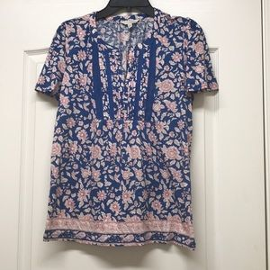 Lucky brand blue floral shirt sleeves top